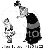 Clipart Of A Vintage Black And White Mother Scolding Her Dirty Daughter Royalty Free Vector Illustration