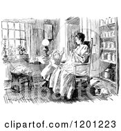 Clipart Of A Vintage Black And White Mother Sewing With Her Daughter In A Room Royalty Free Vector Illustration by Prawny Vintage