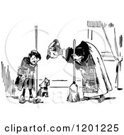 Clipart Of A Vintage Black And White Mother Scolding Her Son And Dog Royalty Free Vector Illustration