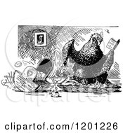 Clipart Of A Vintage Black And White Mother Hen Reading And Rocking A Cradle Royalty Free Vector Illustration by Prawny Vintage