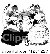 Clipart Of Vintage Black And White Mothers Spanking Their Sons Royalty Free Vector Illustration