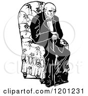 Clipart Of A Vintage Black And White Tired Old Man Sitting In A Chair Royalty Free Vector Illustration by Prawny Vintage