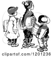 Clipart Of A Vintage Black And White Group Of Paper Boys Royalty Free Vector Illustration