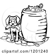Clipart Of A Vintage Black And White Dog With Sausage By A Trash Can Royalty Free Vector Illustration