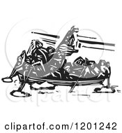 Clipart Of A Scene Of Washington Crossing The Delaware Black And White Woodcut Royalty Free Vector Illustration