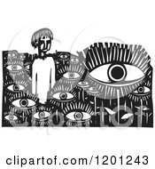 Clipart Of A Man In A Field Of Eyes Black And White Woodcut Royalty Free Vector Illustration by xunantunich