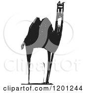 Clipart Of A Camel Black And White Woodcut Royalty Free Vector Illustration