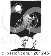 Clipart Of People Catching Earth In A Net Black And White Woodcut Royalty Free Vector Illustration