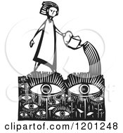 Clipart Of A Girl Watering An Eye Garden Black And White Woodcut Royalty Free Vector Illustration by xunantunich