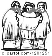 Three People Reading A Map Or Scroll Black And White Woodcut
