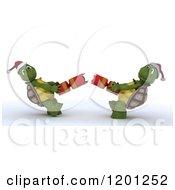 3d Christmas Tortoises Pulling Apart A Cracker