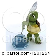 Clipart Of A 3d Tortoise Dipping A Feather Quill In An Ink Well Royalty Free CGI Illustration
