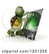 Clipart Of A 3d Tortoise Using A Tablet Computer Royalty Free CGI Illustration by KJ Pargeter