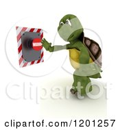 Clipart Of A 3d Tortoise Pushing A Warning Button Royalty Free CGI Illustration