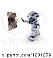 Clipart Of A 3d Robot Reaching For An Rss Feed Button Royalty Free CGI Illustration