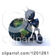 Clipart Of A 3d Blue Android Robot Hugging Earth Royalty Free CGI Illustration