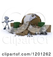 3d Blue Android Robot Presenting A Recycle Globe With Cardboard And Bins