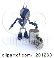 Clipart Of A 3d Blue Android Robot Dropping A Can In A Trash Bin Royalty Free CGI Illustration by KJ Pargeter