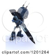 Clipart Of A 3d Blue Android Robot Writing With A Pen Royalty Free CGI Illustration by KJ Pargeter