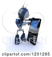 3d Blue Android Robot Using A Smart Phone