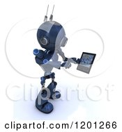 Clipart Of A 3d Blue Android Robot Using A Tablet Computer Royalty Free CGI Illustration by KJ Pargeter