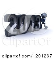 Clipart Of A 3d Blue Android Robot Pushing Together Year 2013 Royalty Free CGI Illustration