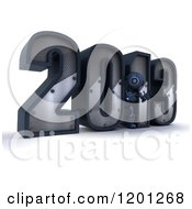 Clipart Of A 3d Blue Android Robot By Year 2013 Royalty Free CGI Illustration