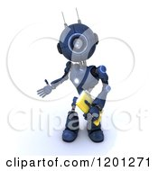 Clipart Of A 3d Blue Android Robot Holding A File Royalty Free CGI Illustration