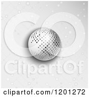 Clipart Of A Network Sphere Over Gray With Lattice Dots Royalty Free Vector Illustration