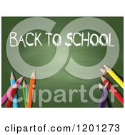 Clipart Of A Back To School Chalkboard With Colored Pencils Royalty Free Vector Illustration by KJ Pargeter