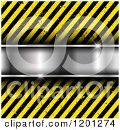 Clipart Of A Shiny Silver Metal Bar Over Diagonal Grungy Hazard Stripes Royalty Free Vector Illustration