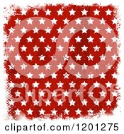 Clipart Of Grungy White Stars On Red With White Halftone And Grunge Borders Royalty Free Vector Illustration