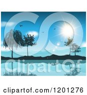 Clipart Of Seagulls And The Sun Over A Lake Mountains And Trees Royalty Free Vector Illustration