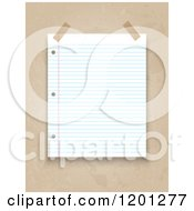Clipart Of A Taped Piece Of Ruled Binder Paper Over Grunge Royalty Free Vector Illustration