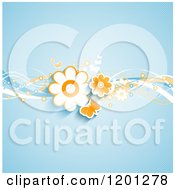 Clipart Of Butterflies And Retro Flowers And Waves Over Blue Royalty Free Vector Illustration