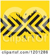 Clipart Of A Yellow Background With Grungy Black Chevron Stripes Royalty Free Vector Illustration