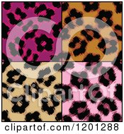 Clipart Of Four Seamless Leopard Print Patterns Royalty Free Vector Illustration by Arena Creative