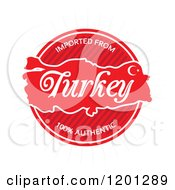 Clipart Of A Round Red Imported From Turkey Authentic Label Royalty Free Vector Illustration