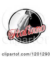 Round Italiano Label With Hands By Lips