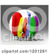 Clipart Of A 3d Globe With Colorful DESIGN Text Over Gray Royalty Free CGI Illustration