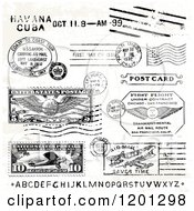 Clipart Of Vintage Alphabet Leters And Postage Marks Royalty Free Vector Illustration