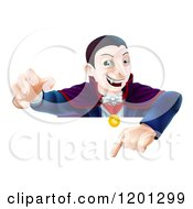 Cartoon Of A Vampire Reaching Out And Pointing Down At A Sign Royalty Free Vector Clipart by AtStockIllustration