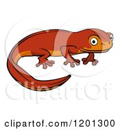 Cartoon Of A Cute Orange Newt Royalty Free Vector Clipart