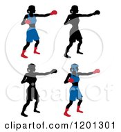 Clipart Of Silhouetted Women Boxing Royalty Free Vector Illustration by AtStockIllustration