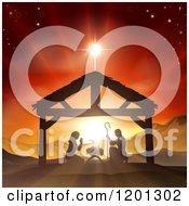 Christian Nativity Scene Of The Birth Of Baby Jesus In The Manger Under The Star Of Bethlehem