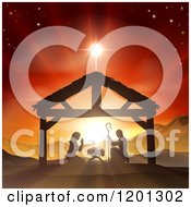 Clipart Of A Christian Nativity Scene Of The Birth Of Baby Jesus In The Manger Under The Star Of Bethlehem Royalty Free Vector Illustration