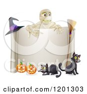 Clipart Of A Mummy Over A Halloween Scroll Sign Black Cats And Pumpkins Royalty Free Vector Illustration by AtStockIllustration