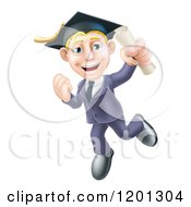 Cartoon Of A Happy Blond Graduate Business Man Jumping Wearing A Graduation Cap And Holding A Diploma Royalty Free Vector Clipart