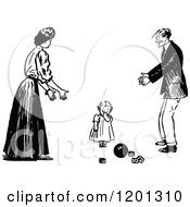 Vintage Black And White Toddler Girl And Parents