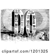 Clipart Of A Vintage Black And White Giant Word DO Royalty Free Vector Illustration